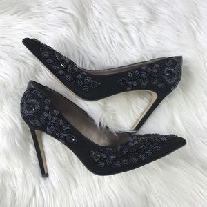 a2a98740017c7e Sam Edelman Shoes - Sam Edelman Dani Beaded Pointy Toe Black Suede 9.5